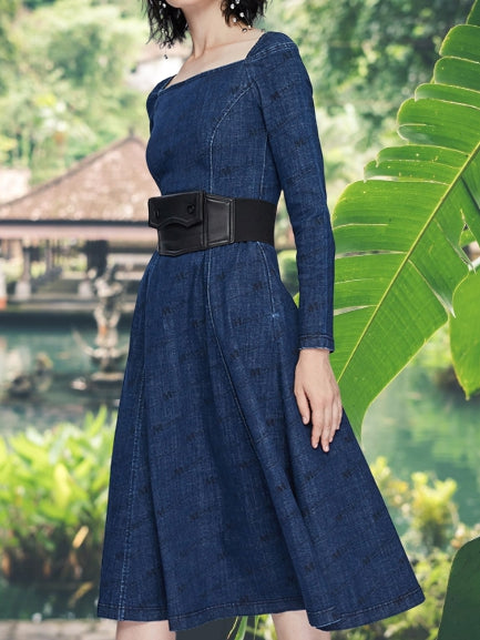 Blue Denim Square Neck Vintage Dresses