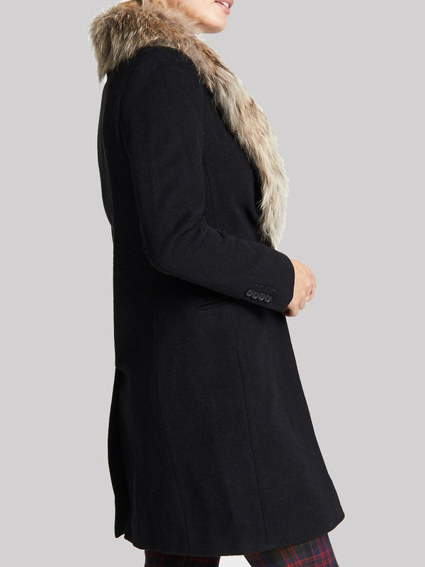 Black Long Sleeve Wool Outerwear