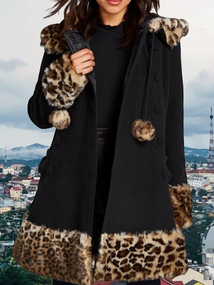 Black Wool Holiday Outerwear