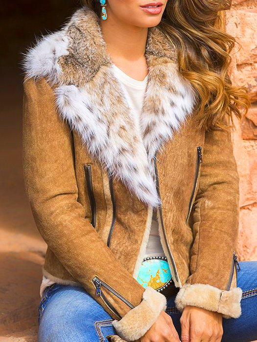 Brown Boho Faux Fur Outerwear