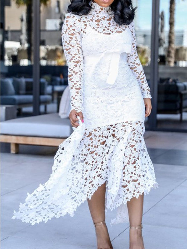 Solid Long Sleeve Asymmetrical Lace Dresses