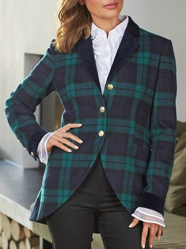 Green Lapel Long Sleeve Outerwear