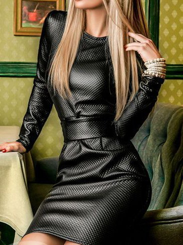 Black Shift Faux Leather Crew Neck Long Sleeve Dresses