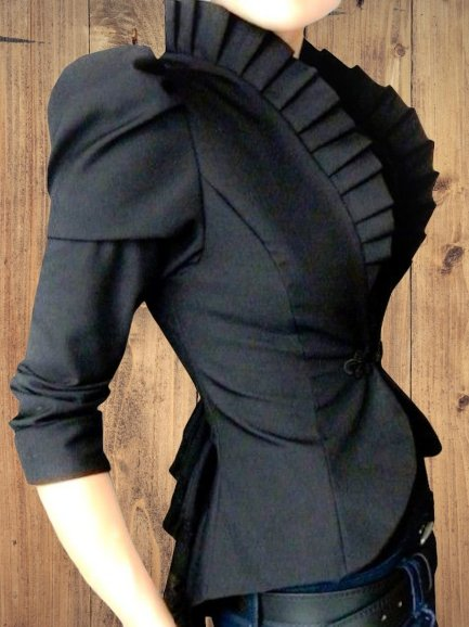 Black Long Sleeve Cotton-Blend Outerwear