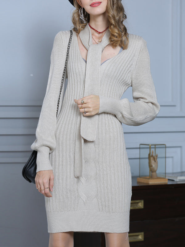 Knitted Tie-neck Sheath Elegant Sweater Dress