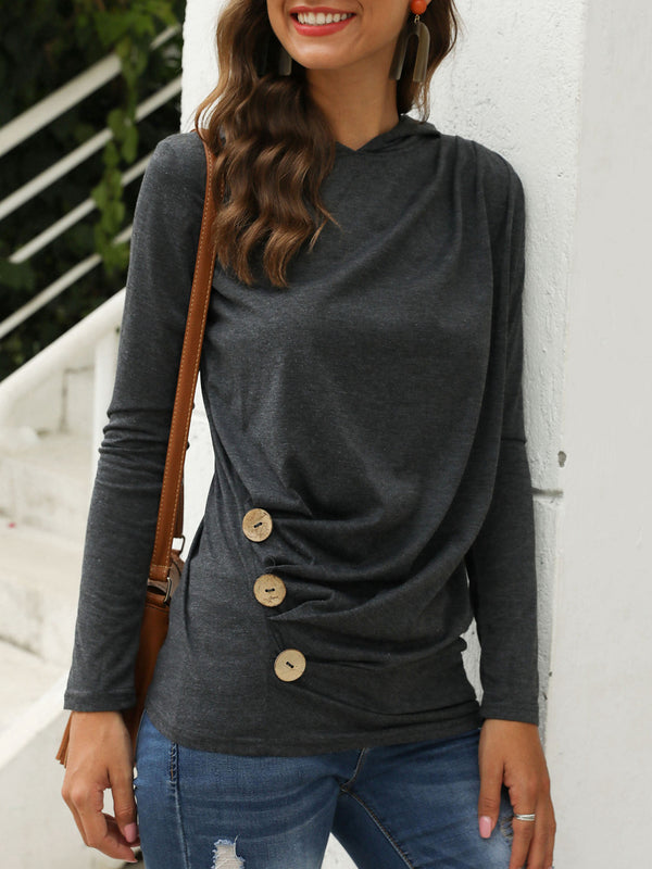 Ruched Hoodie Shift Casual Top