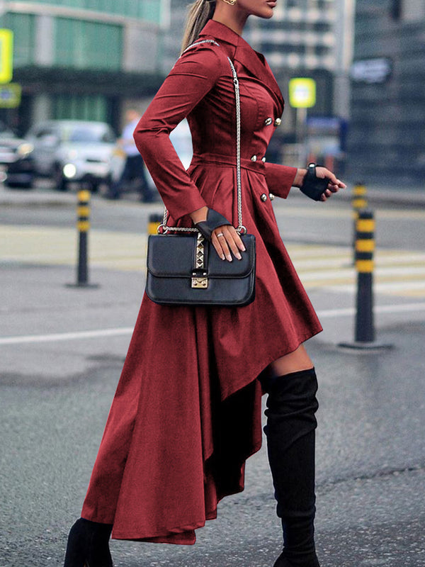 Asymmetric Gathered Elegant Trench Coat