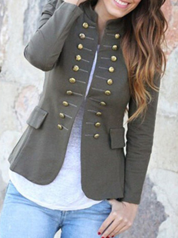 Buttoned Sheath Elegant Cropped Jacket
