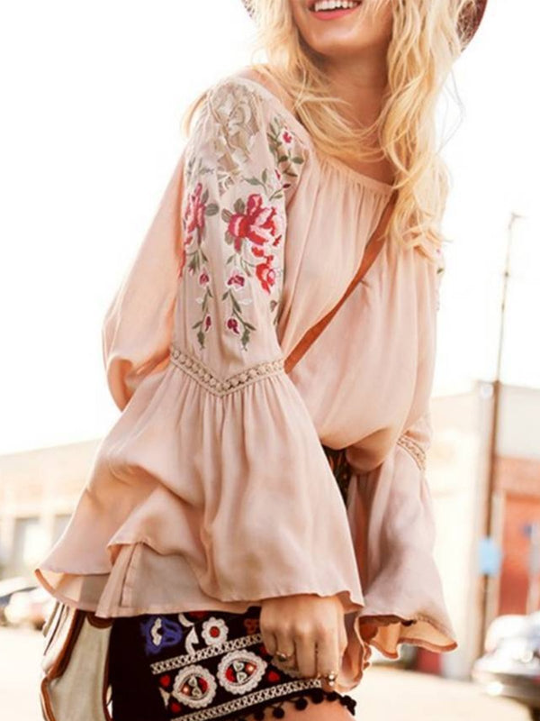 Plus Size Casual Floral Long Sleeve Tops
