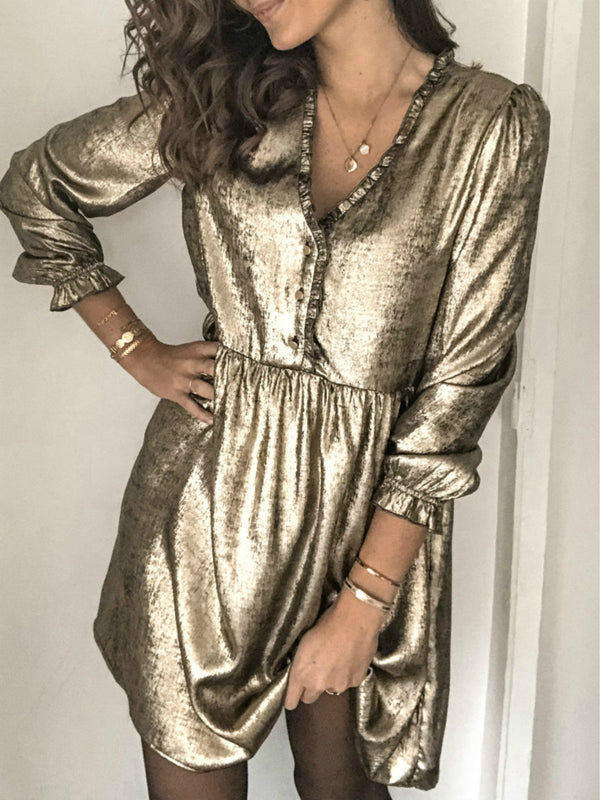 Golden V Neck Long Sleeve Dresses