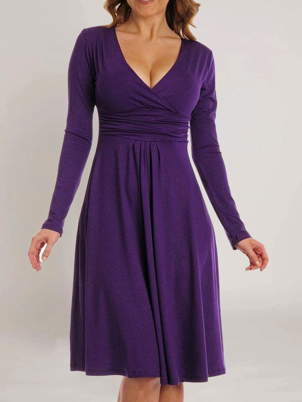 Purple Plain Casual V Neck Dresses