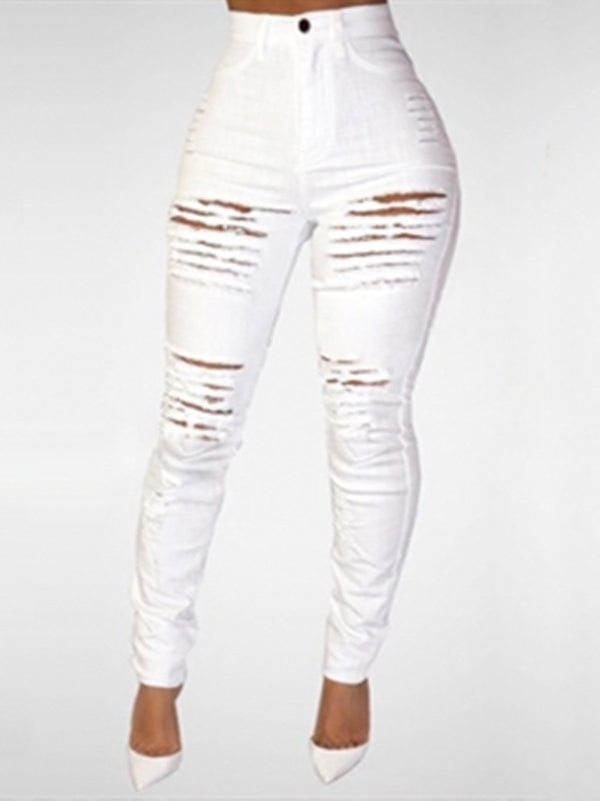 Trendy High Waist Broken Holes Denim Skinny Jeans