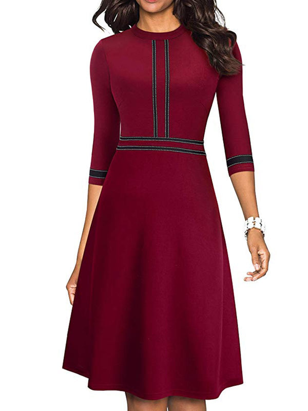 Casual Half Sleeve A-Line Cotton-Blend Dresses