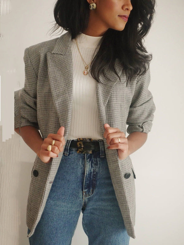 Gray Cotton-Blend Long Sleeve Checkered/plaid Paneled Outerwear