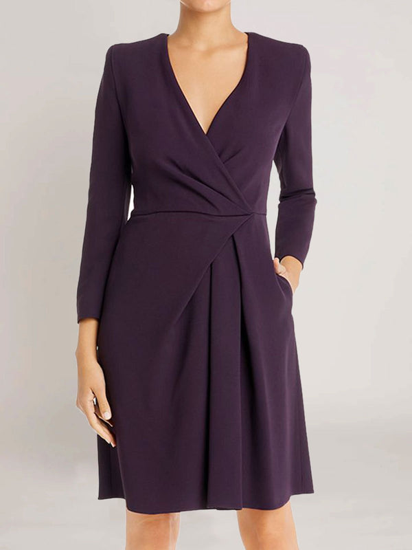 Purple Cotton-Blend Casual Plain Dresses