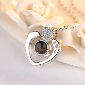 memory of love double heart necklace silver