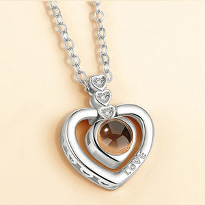 memory of love hearts necklace silver