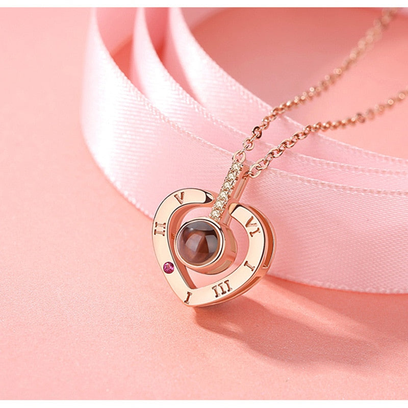 memory of love heart necklace rose gold