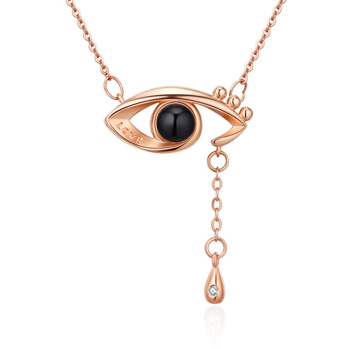 memory of love eye necklace rose gold