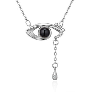 memory of love eye necklace silver
