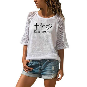 Faith Hope Love Letters Printed T-Shirt For Women - Bella Trading Post