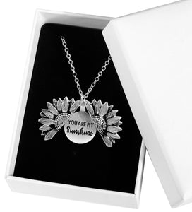 You are My Sunshine Engraved Necklace Sunflower Locket Necklace - Bella Trading Post