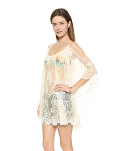 White Lace Women Beachwear Beach Cover Up Coverup Dress Swimwear - Bella Trading Post