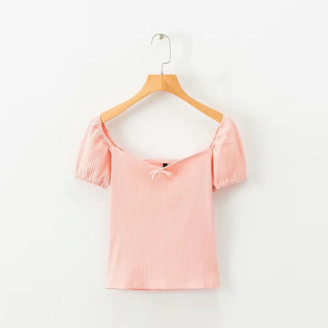 Summer Pink Short Sleeve Cotton Blouse For Women - Bella Trading Post