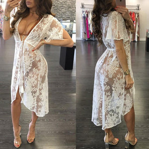Long Lace Sexy Beach Cover Up Swim Wear - Bella Trading Post