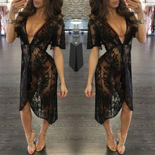 Load image into Gallery viewer, Long Lace Sexy Beach Cover Up Swim Wear - Bella Trading Post