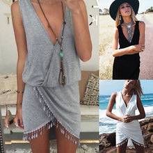 Load image into Gallery viewer, Sexy Womens Tassel Deep Veck Summer Wear Bikini Wear Cover Up - Bella Trading Post