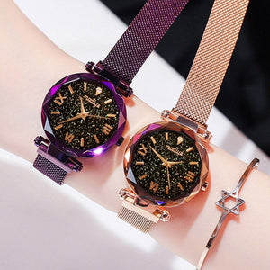 Women's Luxury Fashion Wrist Watch With Magnetic Starry Sky Design - Bella Trading Post