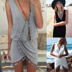 Sexy Womens Tassel Deep Veck Summer Wear Bikini Wear Cover Up - Bella Trading Post