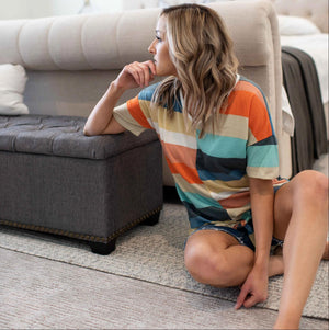 Peach Multi Color Striped Short Sleeve Top With Front Tie