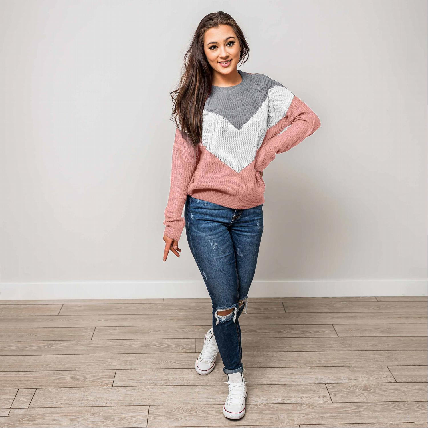 Grey ROUND NECK LONG SLEEVE CHEVRON COLORBLOCK SWEATER