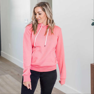Begonia Pink Oversized Fleece Relax Fit Pullover Hoodie