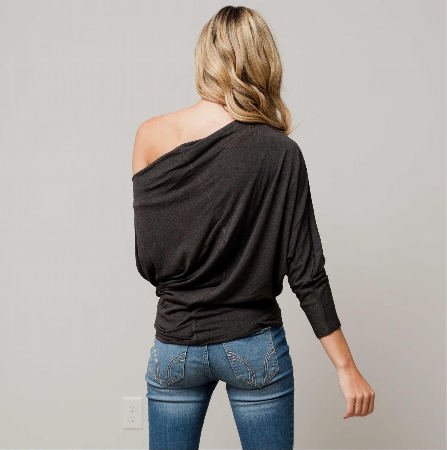 Charcoal Off Shoulder Dolman Long Sleeve Top