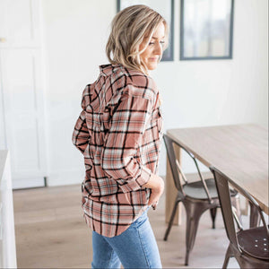 Mauve Double Flap Pocket Button-up Plaid Shirt With Roll-up Long Sleeves
