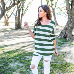 Green Striped Shoulder Boxy Top