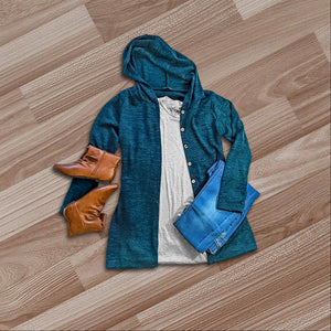 Teal Hacci Fabric Button Down Hooded Cardigan