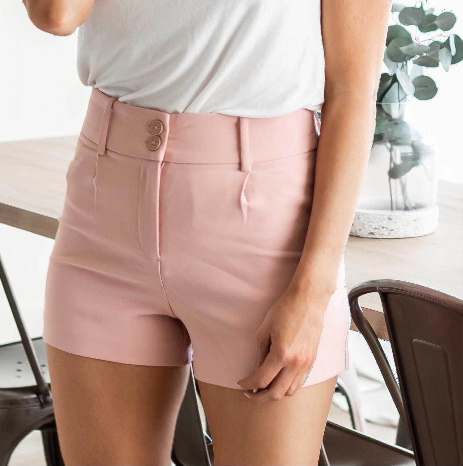 Pink Pleated High Waist Shorts