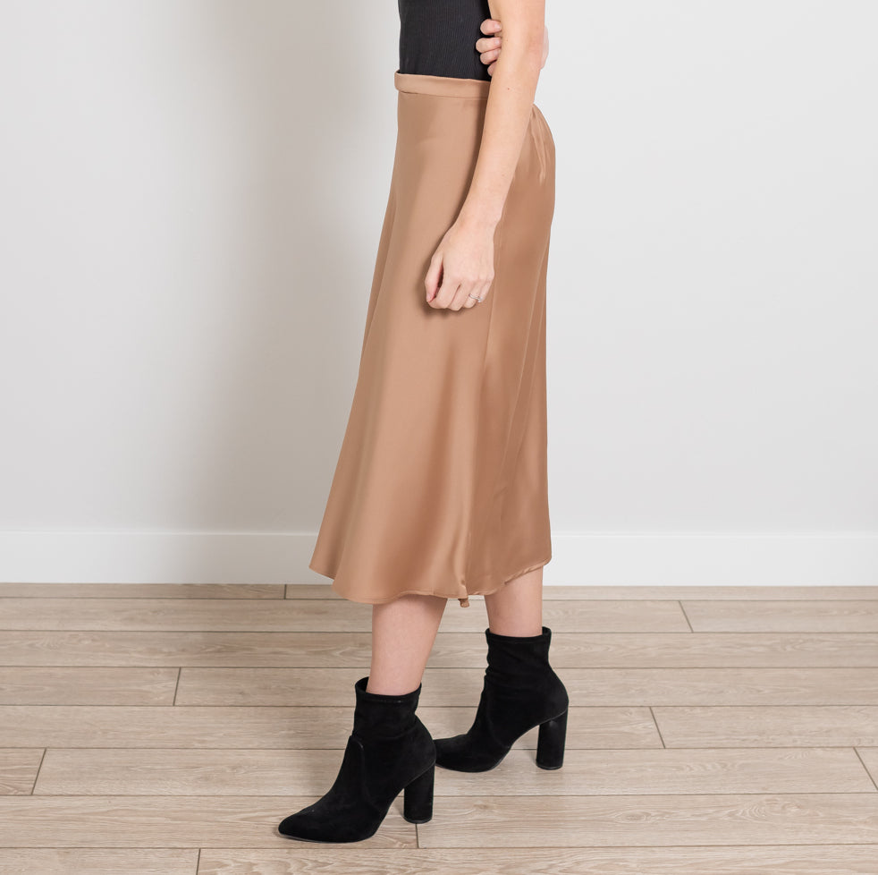 Mocha Side Zip Midi Silk Skirt