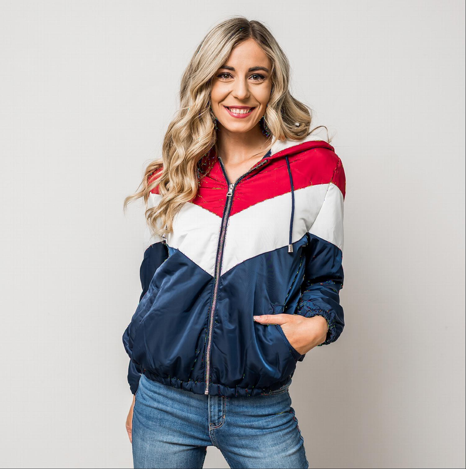 Navy/Red COLORBLOCK PUFFER JACKET WITH SHERPA-LINED HOOD