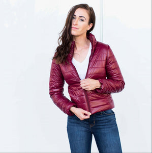 Burgundy Glossy Ultralight Down Jacket (Burgundy)