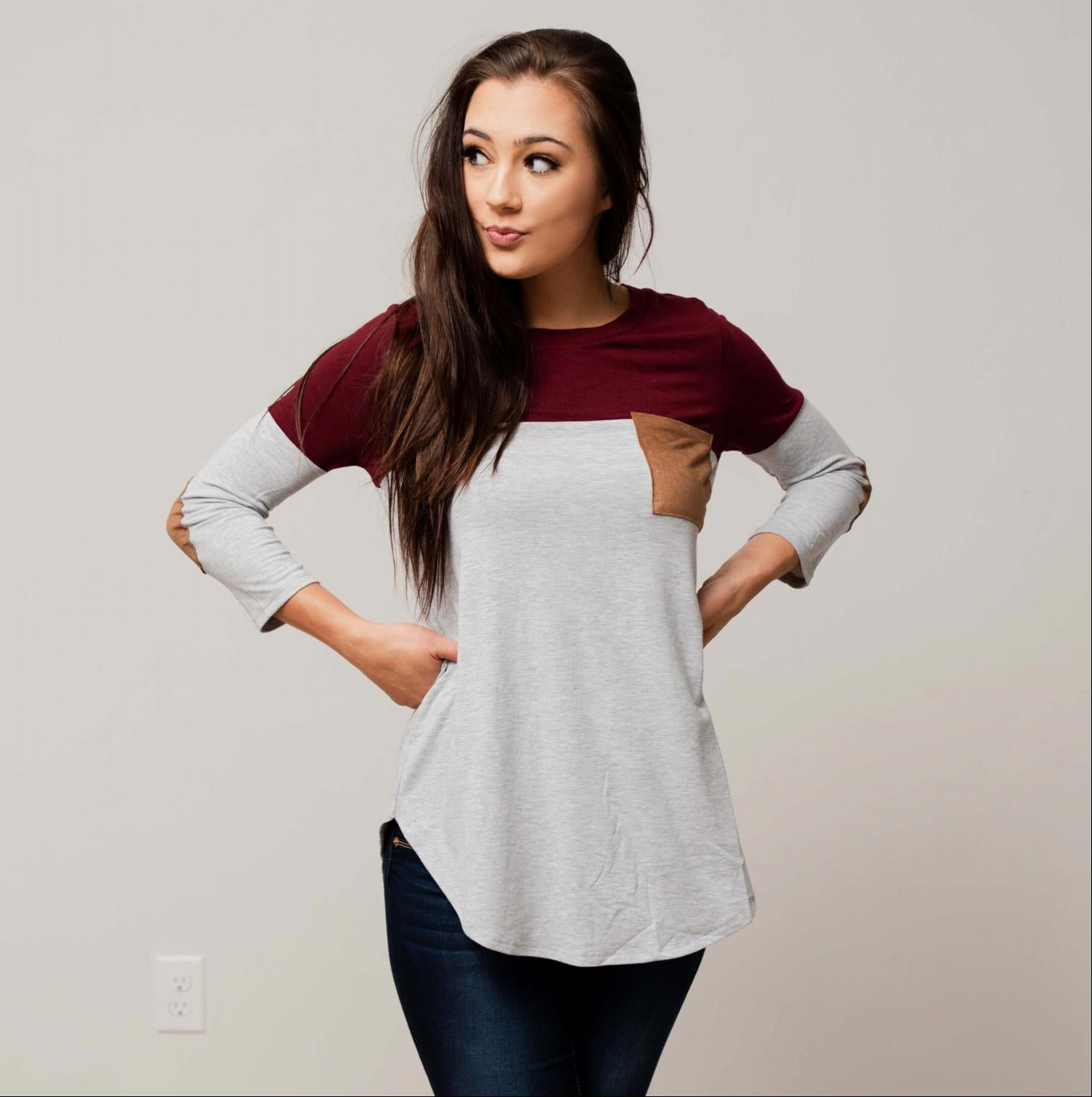 Burgundy Women's Color Block Elbow Patch Long Sleeve Soft Knit Fall Winter Pocket Top USA