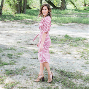 Mauve Striped Vee Neck Dress