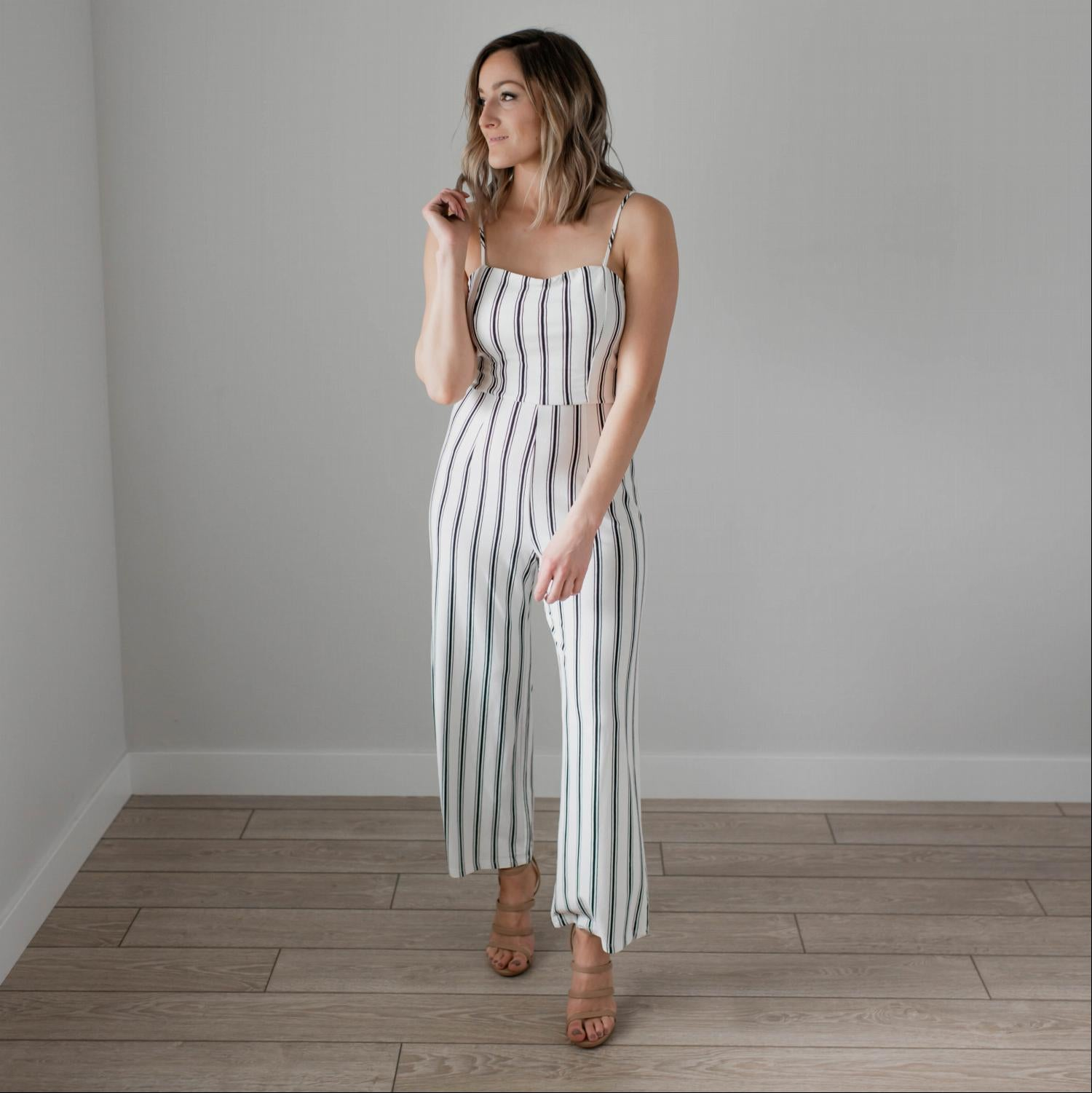 White Striped Knit Cami Jumpsuit