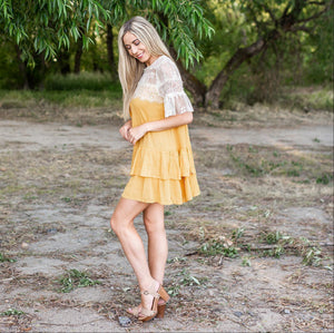 Mustard Lace Bell Sleeve Keyhole Dress