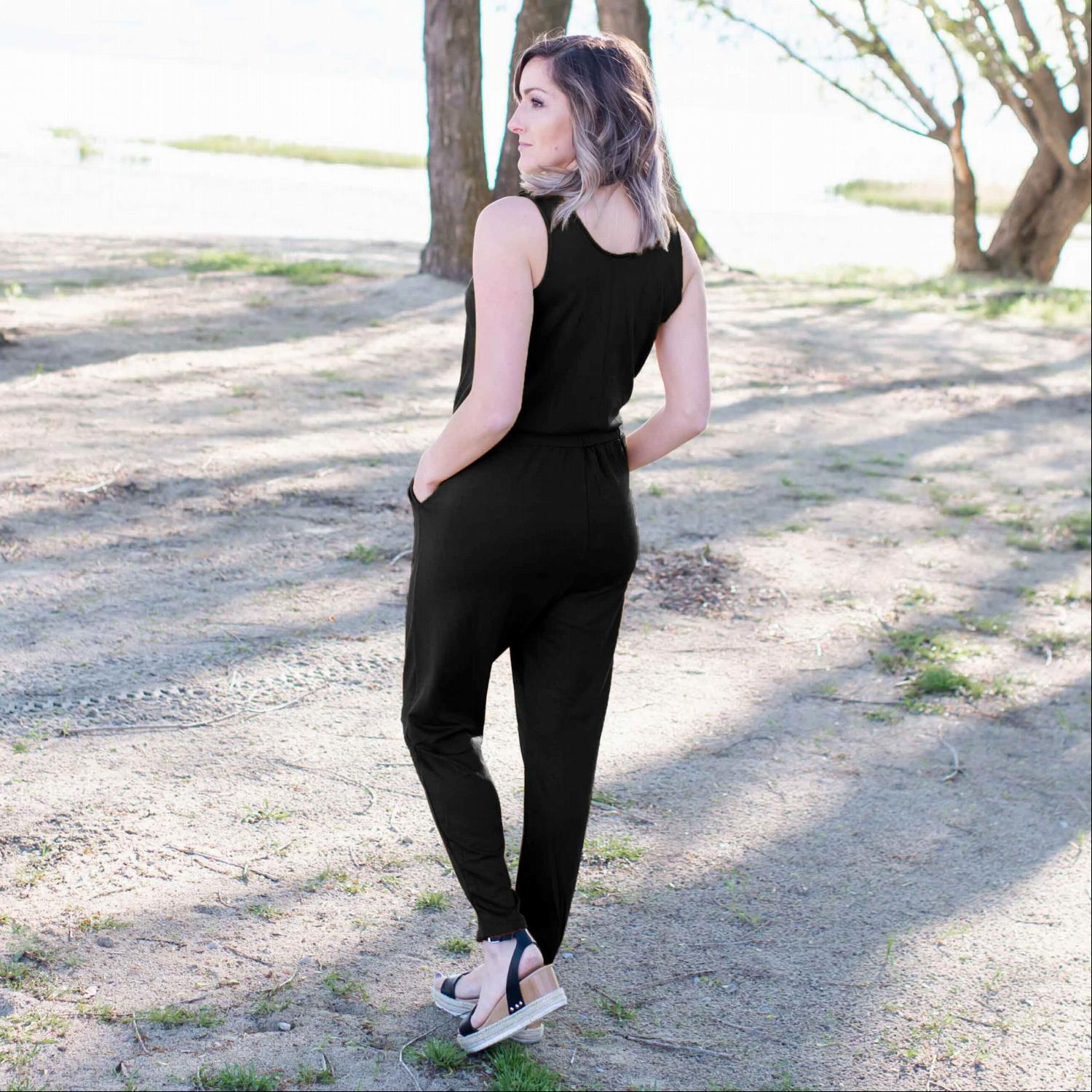 Black French Terry Knit Sleeveless Jumpsuit
