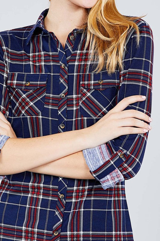 Navy ROLL UP SLEEVE FRONT POCKET DETAIL PLAID CHECK PRINT STRETCH KNIT SHIRTS